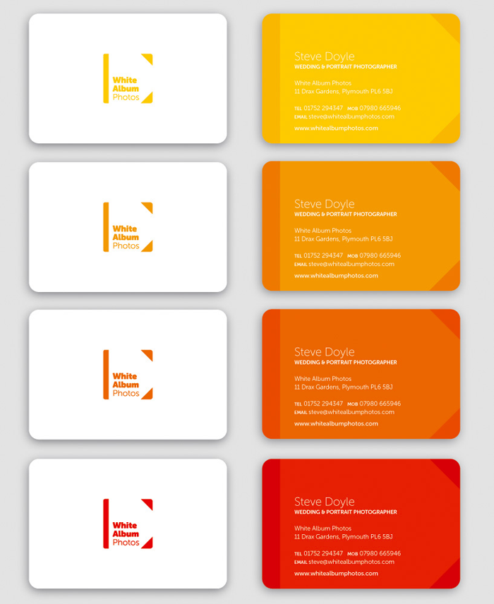 White Album Photos colourful rounded corner business cards