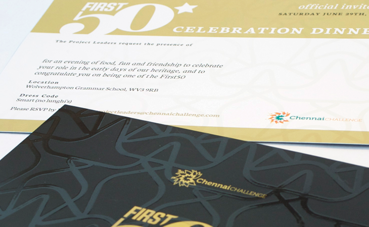 First50 Invitation front & back